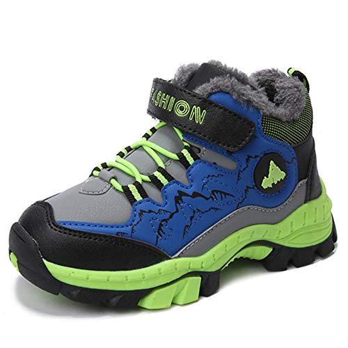 Wanderschuhe Jungen Trekking Schuhe Wanderstiefel Kinder Winterschuhe Warm Gefüttert Stiefel Schnee Outdoor Camping Rutschfeste Blau Grün Orange Gr.30-40 GR31