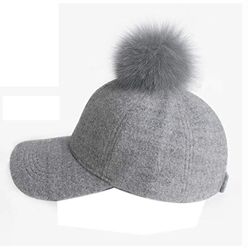 Unbekannt Hüte Die Haarballkappe des Hutherbst- und -winterkappens der Frau verdicken Baseballmützedamenhutdoppelte optionale Geschenk-Wintermütze (Color : Gray, Size : 57cm)