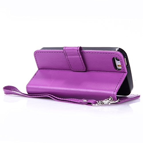 Leather Case Cover Custodia per iPhone 5 / 5G / SE ,Cozy Hut Caso / copertura / telefono / involucro del modello PU con a Bookstyle tasche carte di credito funzione con interno morbido in TPU Portafog porpora