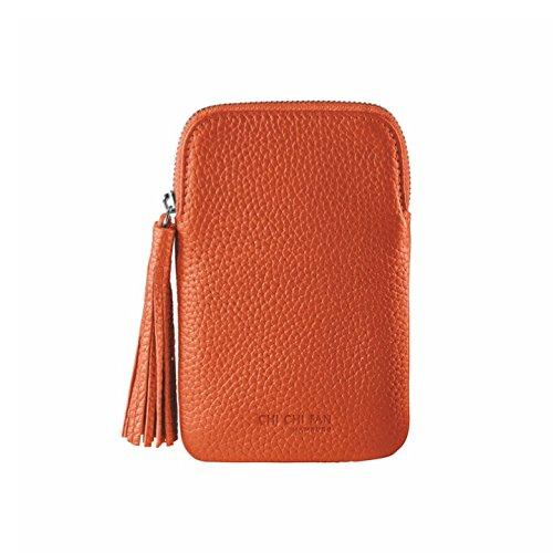 CHI CHI FAN Mobile Bag - Orange   Smartphone Hülle aus echtem Leder   Top Qualität und Design treffen auf maximale Funktion und Sicherheit für ihr Handy   Schutz vor Schmutz und Schäden