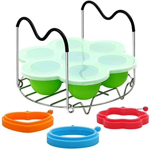 Pocheuse à œufs en silicone pour casserole instantanée, micro-ondes et cuisinière - Moule à piqûres d'œufs, support de plat et moules à œufs, moules à crêpes - Ensemble pour œufs pochés/frits parfaits