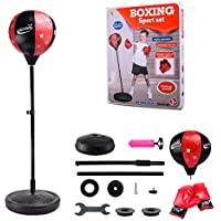 Punching Ball sur Pied,Sac de Frappe sur Pied Adulte Enfants, sur Pied réglable en Hauteur 80cm-110cm - Kit de Sac de Boxe sur Pied Sanda Boxing Heavy Boxing Training