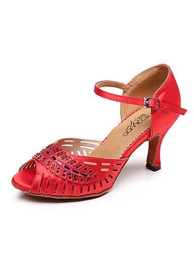 La mode moderne femmes Sandales Chaussures de danse Latine Salsa/Satin Satin sandales talon intérieur/professionnel noir/bleu/rouge US10.5/EU42/UK8.5/CN43