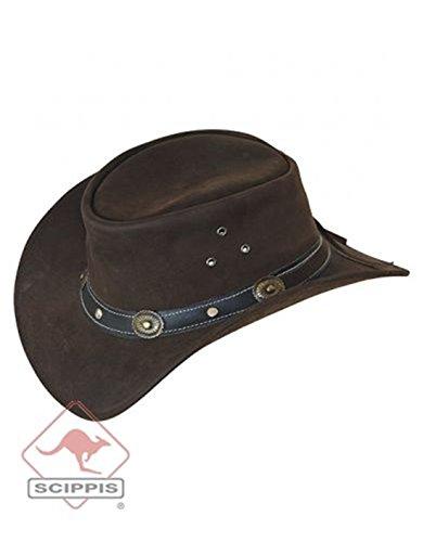 Scippis Rugged Earth Cuir Chapeau Chapeau de Cowboy Chapeau Western INCL. Liège Rayures et Cuir Bande de pêche, Marron, Marron