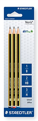 Staedtler Noris 120-S BK3D. Lápices de madera certificada. Pack con tres lapiceros surtidos de dureza B, HB y H.