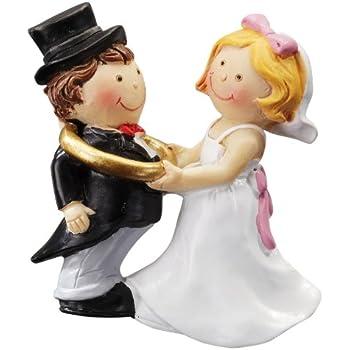 Coppia di sposi con anello in 2D, decorazione per torta