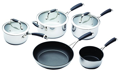 MasterClass Stainless Steel Induction-Ready Pan Set (5 Pieces)