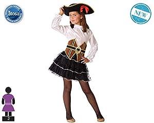 Atosa-61508 Atosa-61508-Disfraz Pirata-Infantil Niña, Color marrón, 3 a 4 años (61508