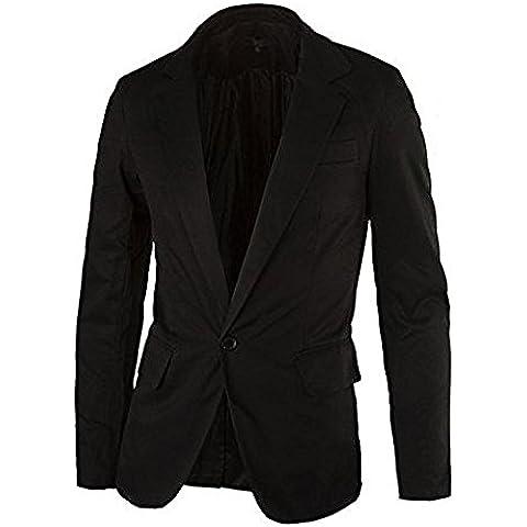 SODIAL (R) Casual delgado con un boton de la chaqueta del juego con estilo para hombre chaquetas de la capa (Negro -