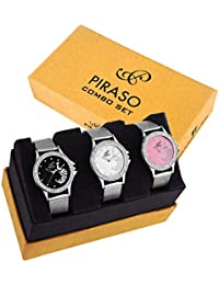 Piraso Analogue Pink,White, Black Dial Women's Watch Combo (PW3-47)