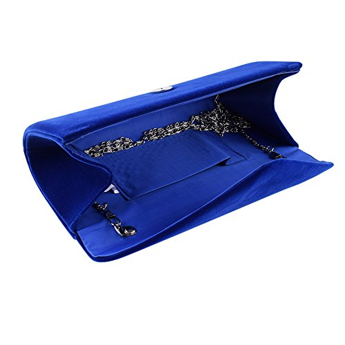 bdeeac257317a ... Clorislove Damen Samt Clutch Tasche Hochzeit Handtasche Abendtasche  (Schwarz) Navyblau