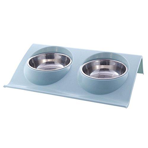 colinsa Dog Bowls mit Non-Spill Tablett Double Edelstahl Bowls mit Knochen Form Non-Rutsch-Matte zusammenklappbar abnehmbare Hund Katze Essen Wasser Schüssel