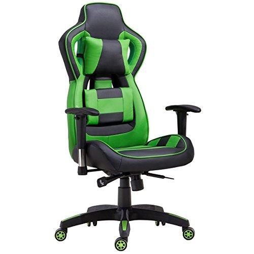 Delman Gaming Stuhl Bürostuhl Racing Stuhl Gamer Ergonomischer Stuhl Einstellbare Armlehne Einteiliger Stahlrahmen Einstellbarer Neigungswinkel 02-1004 (Schwarz-Grün)