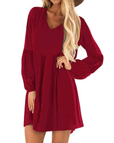 YOINS Damen Kleider Winterkleid für Damen Brautkleid Tshirt Kleid Rundhals Langarm Minikleid Kleider Langes Shirt Lose Tunika Baumwolle-rot...