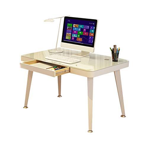 Glas-büro, Konsole-tabelle (Bseack Tabelle Computertisch, herausnehmbare Tischplatte aus gehärtetem Glas Verstellbarer Fuß Mit Schublade Einfache Montage (größe : 100 * 50cm))