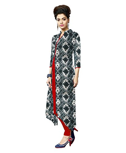 Kurti (Clothfab Women\'s Crepe Digital printed 3/4 Sleeve Long Kurti Size : XL Grey Color)