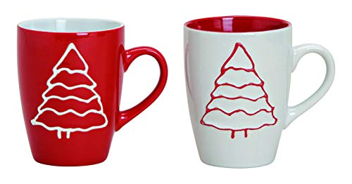 MC-Trend 4er Set Tassen Becher winterliches weihnachtliches Motiv Tannenbaum in weiß und rot...