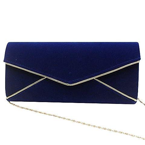 Wocharm Fashion Suede Velvet Ladies Envelope Bag Prom Party Clutch Purse Bag Evening Handbag (Blue)