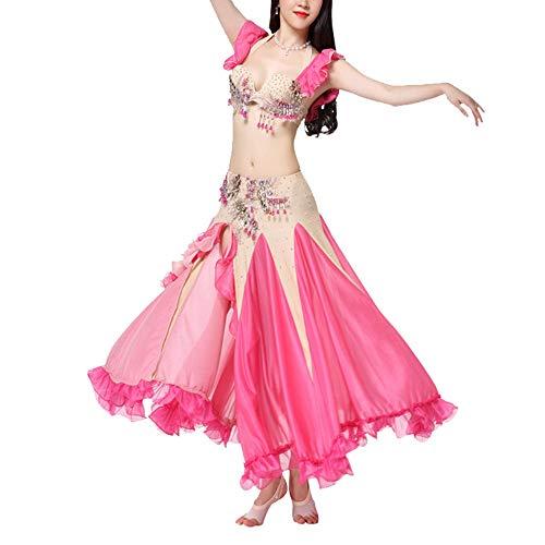 Fairy Kostüm Rose - LULUVicky-WMDress Bauchtanz Kostüm Bauchtanz Kostüm for Frauen Bauchtanz Rock Sexy Tops Bauchtanz Outfit Karneval Kostüme Chiffon Fairy ausgefallenen Rock (Farbe : Rose rot, Größe : L)