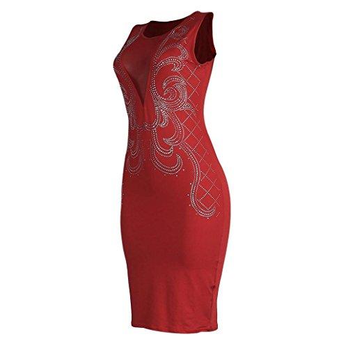 Robe Femme, Fulltime®63/5000 Femmes Sexy O-cou manches sequin mini robe de la robe de hanche Rouge