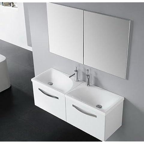 bathkitchens–Mobile da bagno, lavabo e specchio modello Ontario senza morsetto