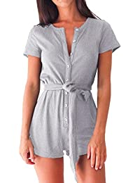 3f496b0266 Reaso Femmes Combishort, Bouton Sexy Bandage Combinaison Manche Court  Rompers