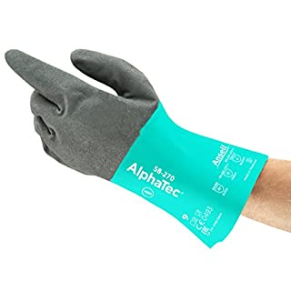 Ansell AlphaTec 58-270 Nitril Handschuhe, Chemikalien- und Flüssigkeitsschutz, Grün, Größe 6 (12 Paar pro Beutel)