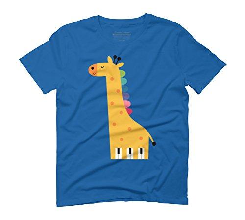 Giraffe Piano Men's Graphic T-Shirt - Design By Humans Royal Blue