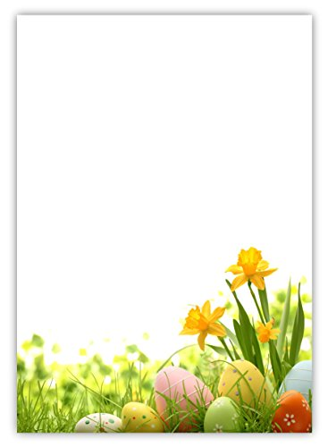 Motiv Briefpapier (Ostern-5023, DIN A4, 25 Blatt). Einseitig bedrucktes Briefpapier, sehr gut beschreibbar, Motivpapier für alle Drucker/Kopierer geeignet Motiv Ostern gelbe Narzissen Ostereier