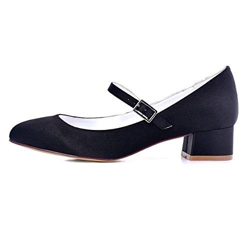 ElegantPark Femmes Fermé Toe Bloc Talon Mary Jane Pompes Satin Chaussures de Mariage Soirée Noir