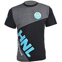 Mens Tee T-Shirt Short Sleeve Round Crew Neck Stylish Gym Sports Summer Top (XL - Extra Large, Black/Turquoise)