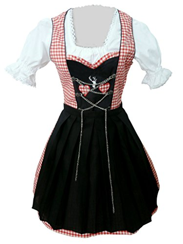 Di04 Mini Dirndl, 3 Teiliges Trachtenkleid in Rot weiß, Kleid mit Bluse und Schürze, Rocklänge 47-56 cm, Gr. 38