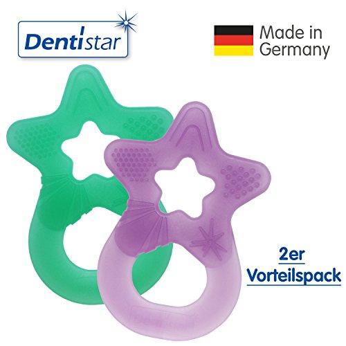 Dentistar® Beißring im 2er-Set - Stern - Zahnungshilfe für Babys ab 3 Monate - Kühlbeißring Baby aus TPE - Made in Germany – Lila, Minze Grün