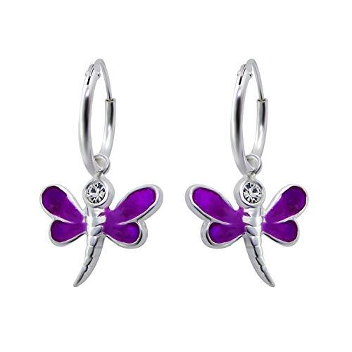 JAYARE Kinder Creolen Libelle 925 Sterling Silber Glitzer-Kristall 24 x 14 mm violett Mädchen-Ohrringe im Schmuck-Etui -