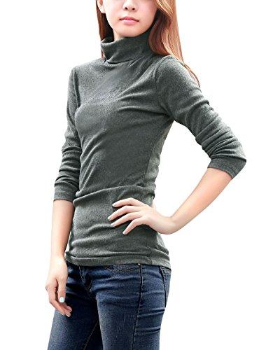 Allegra K Cintré Femme Col Roulé Manches Longues Coupe Droite Chemise Dark Gray