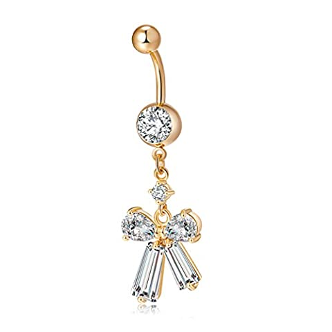 YAZILIND Body Barbells Piercing Bow tie Cubic Zirconia Stainless Steel Copper Navel Ring Belly Button for