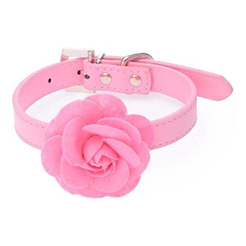 dulee Mehrfarbig England Stil Pet Halsband Katze Hund Rose PU Halsband England Rosa Rose