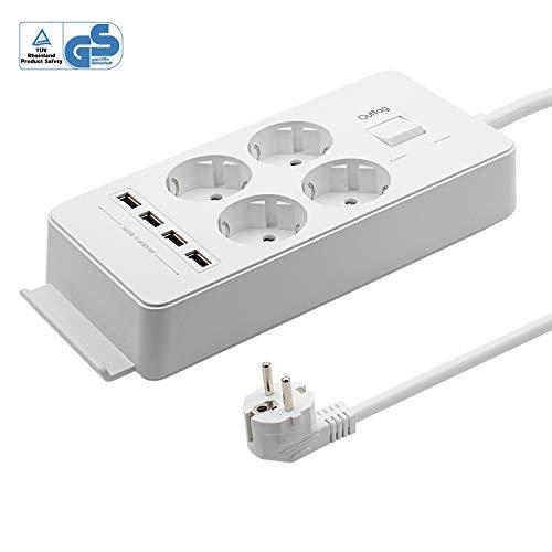 4-Fach Steckdosenleiste Steckerleiste 1,5 m Kabel für Haushaltsgerät bis 4000W 250V 16A belastbar...