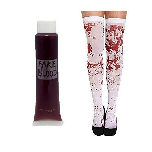 Jokeshop.com Weiß Blutflecken Strümpfe mit Kostenlosen Tube mit Blood Halloween Kostüm Zubehör - Damen Blutig Halterlose Strümpfe Strumpfhose Ideal für Zombie Schulmädchen, Sexy Kostüm