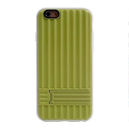 JING Pour IPhone 6 / 6S, texture verticale TPU Frame Plastic Protective Case ( Color : Black ) Green