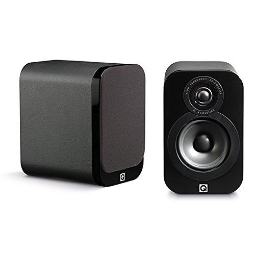 Q Acoustics QA3010 Lautsprecher für MP3 und iPod Schwarz Leder (Leder Bücherregal Schwarz)