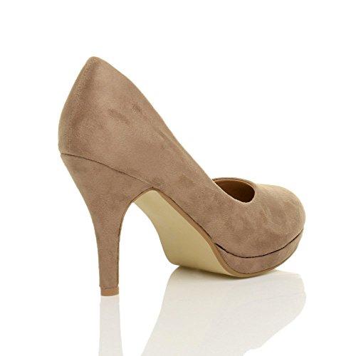 Femmes talons hauts moyen soirée élégant simple escarpins chaussures pointure Daim taupe
