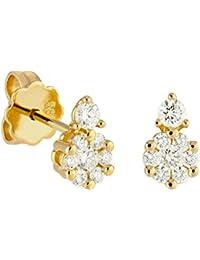 Diamond Line Damen - Ohrstecker 585er Gold 16 Diamanten ca. 0,40 ct., gelbgold