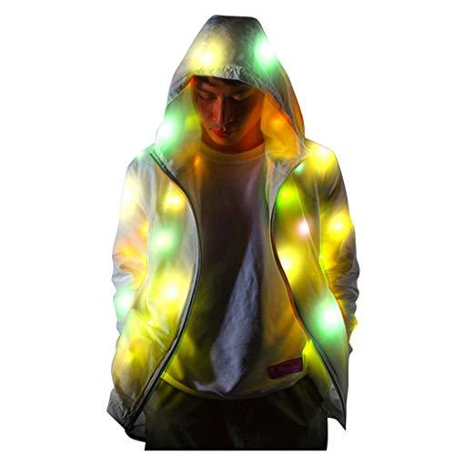 TOPSELD Frauen der Männer Buntes glühende Jacke Led Bunte leuchtende Kleidung