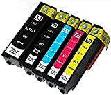5(Set complet) compatible Epson 33x l Cartouches d'encre pour Epson Expression Premium xp-530xp-630xp-635xp-640xp-830xp-900xp-540xp-645-Noir/Noir Photo/cyan/magenta/jaune, Haute capacité