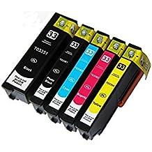 Cartuchos de tinta Epson 33XL compatibles para Epson Expression Premium XP-530 XP-630 XP-635 XP-640 XP-830 XP-900 XP-540 XP-645 – negro/foto negro/cian/magenta/amarillo, alta capacidad, 5 (juego completo)