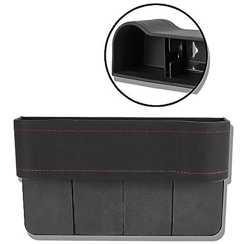 KT d'alimentation de voiture Poche latérale W/porte-gobelet pour boissons Clé Portefeuille téléphone Lunettes de soleil, cuir, Noir