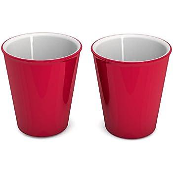 ornamin kaffeepott 300 ml rot 2er set hochwertiger stabiler kaffeebecher aus kunststoff mit. Black Bedroom Furniture Sets. Home Design Ideas