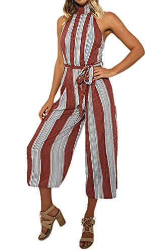 YACUN Damen Stripe Hohe Taille Wide Leg lange Hose Jumpsuits Rompers Colorful XL (Wide Taille Leg Hose Hohe)