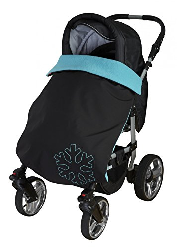 ByBoom® Softshell Decke 70x100 cm Thermo Aktiv; Funktions-/Universal-/Outdoor-Babydecke für Kinderwagen, Buggy, Jogger, Farbe:Schwarz/Aqua